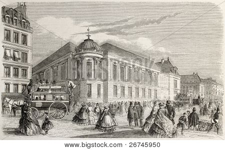 French national library (Bibliotheque imperial) in 1860. Created by Delannoy, published on L'Illustration, Journal Universel, Paris, 1860