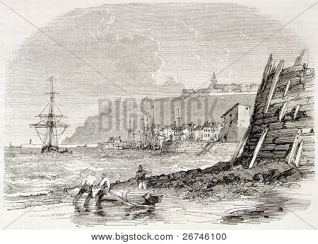 Granville seaport old view, France. Created by Morel Fatio, published on Magasin Pittoresque, Paris, 1844