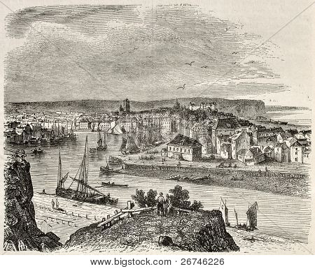 Dieppe old view, France. Created by Morel-Fatio, published on Magasin Pittoresque, Paris, 1844
