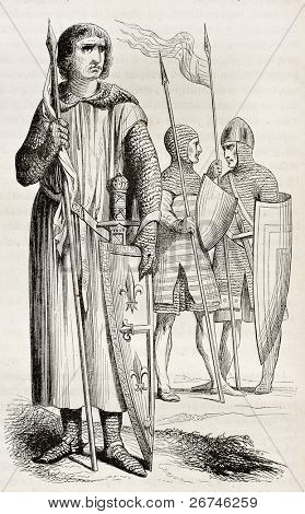 Medieval costumes of warriors. Created by Montfaucon, published on Magasin Pittoresque, Paris, 1844