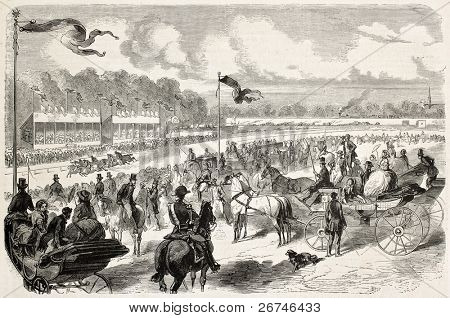 Amiens racecourse old illustration, France. Created by Worms, published on L'Illustration, Journal Universel, Paris, 1858