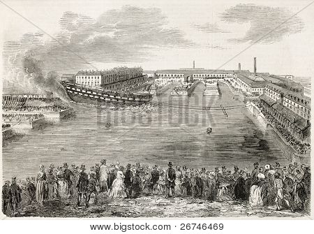 Launching the Ville-de-Nantes, old illustration. Created by Gaildrau,  published on L'Illustration, Journal Universel, Paris, 1858