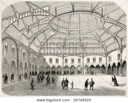Antwerp stock exchange old view (summer 1858). Created by Rouargue, published on L'Illustration, Journal Universel, Paris, 1858