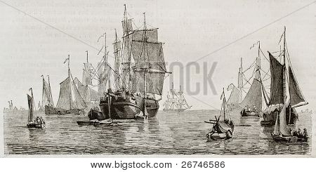 Dutch vessels and boats in Amsterdam seaport. Created by Colignon, published on Magasin Pittoresque, Paris, 1844
