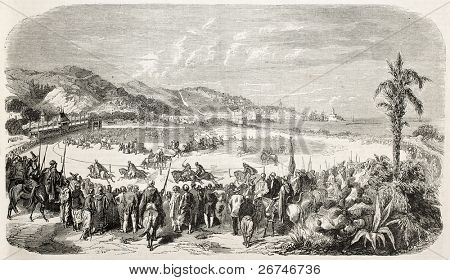 Algiers racecourse old illustration, France. Created by Worms, published on L'Illustration, Journal Universel, Paris, 1858