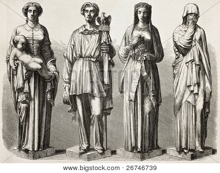 Four statues depicting four ages in Civil records, sculpted for Montrouge city hall. Sculpted by Chevalier after photo of Marville, published on L'Illustration, Journal Universel, Paris, 1858