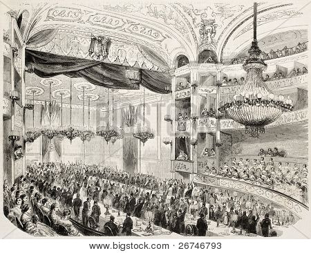 Banquet offered to Ferdinand de Lesseps (developer of the Suez Canal) by the city of Marseilles. Created by Godefroy-Durand after Crapelet, published on L'Illustration, Journal Universel, Paris, 1858