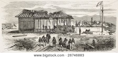 Tourane bay (today Da Nang) bombing by French fleet, China: western fort after Chinese defeat. Created by Lebreton, published on L'Illustration, Journal Universel, Paris, 1858