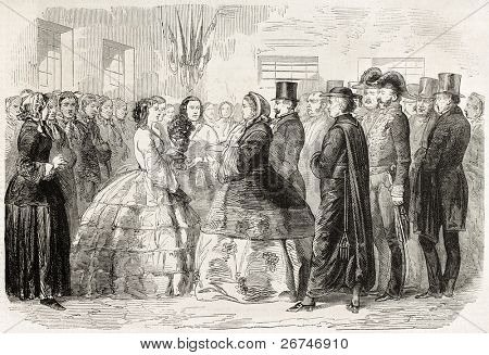 Young female workers of mirrors factory giving a welcome bunch of flowers to Empress Eugenie visiting Saint-Gobain. Created by Worms, published on L'Illustration, Journal Universel, Paris, 1858