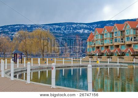 Condominium waterfront Okanagan lake in Kelowna, Canada.