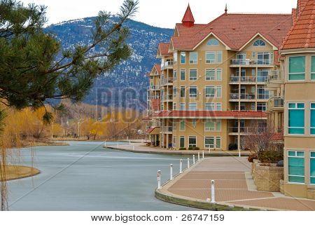 Condominium waterfront Okanagan lake in Kelowna, Canada.