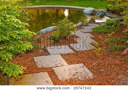 Outdoor landscape garden with pond in North Vancouver, British Columbia, Canada.