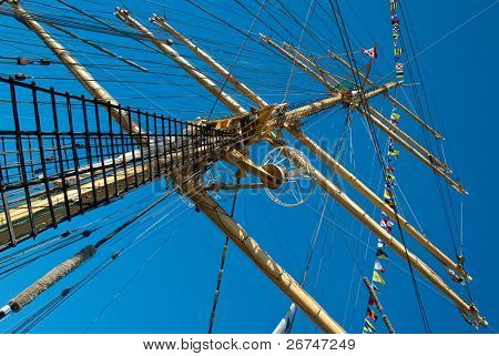 Masts and rope of sailing ship.