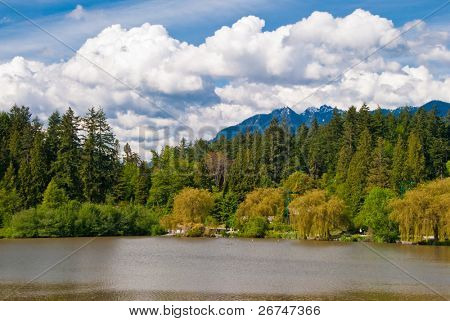 View over Lost Lagoon in Stanley Park, Vancouver, Canada.