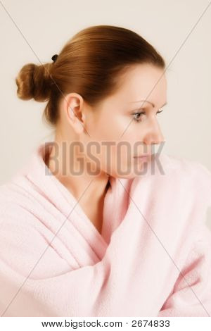 Beautiful Woman In Pink Bathrobe