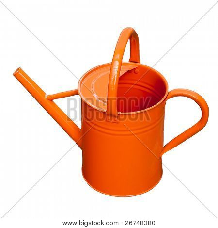 Orange watering pot isolated on white.