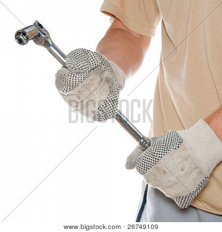 Man hands holding a heavy duty wrench isolated on white.