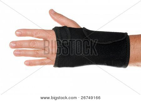 Wrist support with hand isolated on white.