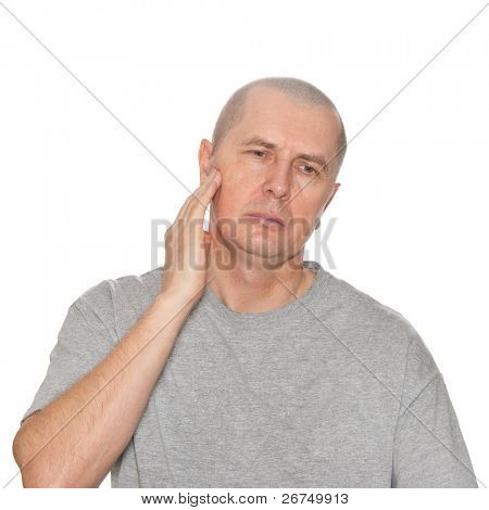 a man portrait frown toothache isolated studio on white background