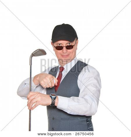 A businessman with a golf club isolated over a white background.