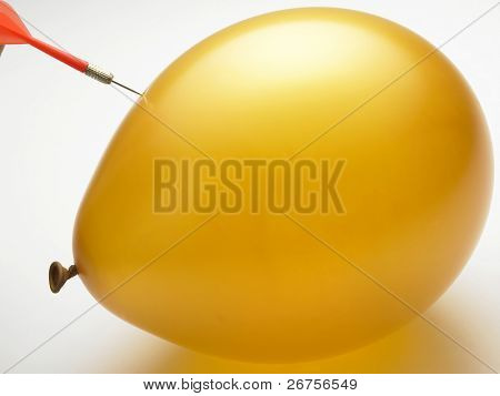 needle on the yellow color ballon closely