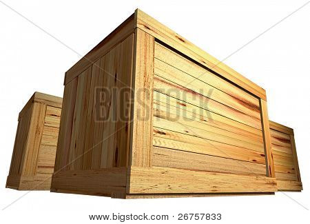 few wooden boxes on the plain background