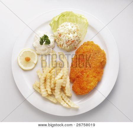top view of the fish and chips