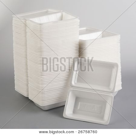 Stack of Styrofoam meal box.