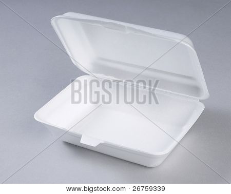 Opened styrofoam meal box.