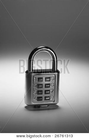 black and white of combination lock