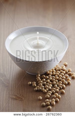 stock image of the soya bean drink