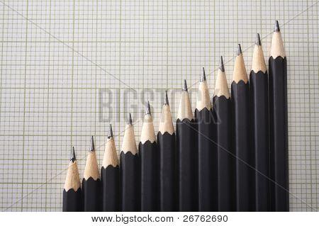 Lager Bild des Bleistifts hintereinander anordnen