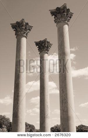 Three Towering Pillars In Sepia