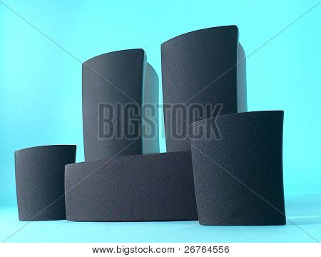 five old powerful concerto audio speakers isolated on blue background
