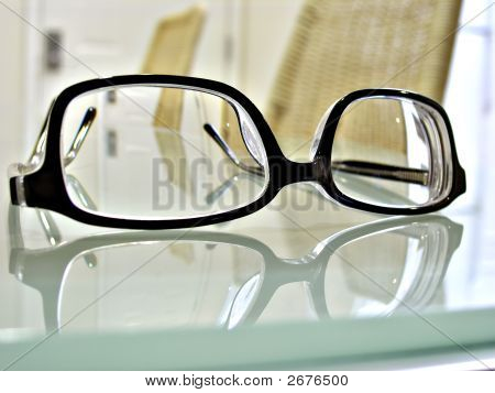 Close Up Shot Of Dark-Rimmed Eye Glasses