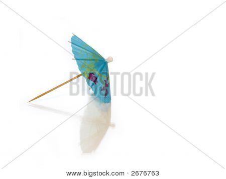 Blue Cocktail Umbrella On White