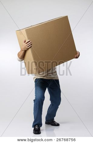 stock image of the man carrying paper box