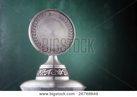 Silver trophy isolated on the background.