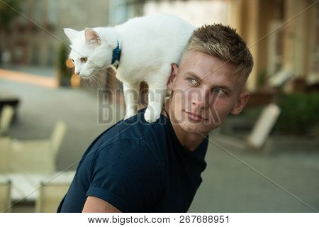 poster of Curious Explorer. Happy Man On Walk With Cat Pet. Muscular Man Hold Cute Pedigree Cat. Happy Cat Own