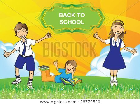 illustration or vector of the back to school concept