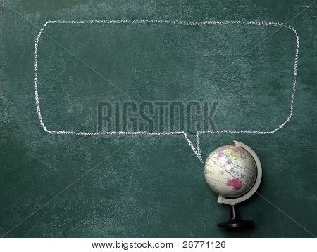 globe on the blackboard with the speech bubble