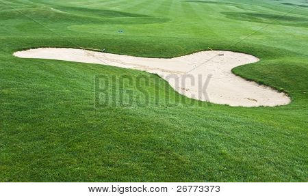 Sand trap on the golf course