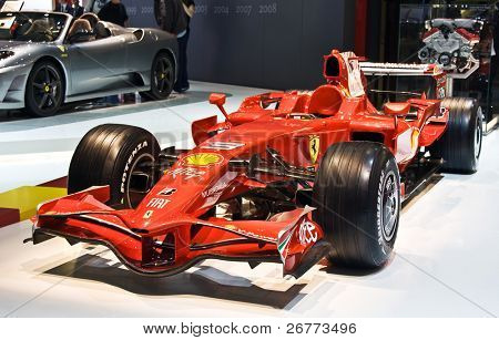 GENEVA - MARCH 7: Ferrari F1 bolide on display at the 79th International Motor Show Palexpo-Geneva on March 7, 2009.