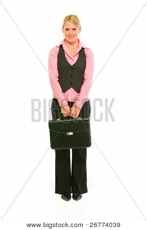 Full Length Portrait Of Modern Business Woman With Briefcase