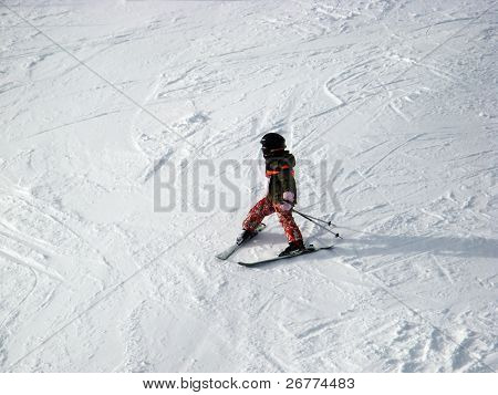 Skiing in swiss alps (Scuol, Graubuenden, Switzerland)