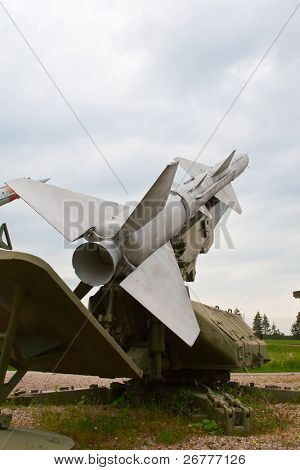 Russian anti-aircraft missile aimed on the sky