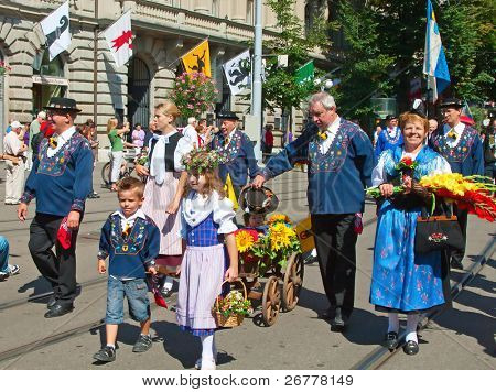 ZURICH - AUGUST 1: Swiss National Day parade on August 1, 2009 in Zurich, Switzerland. Representatives of the local Appenzell community with unidentified kids