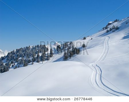 Winter in swiss alps (Flumserberg, St. Gallen, Switzerland)