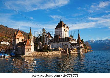 Oberhofen castle on the lake Thun, Jungfrau region, Switzerland)
