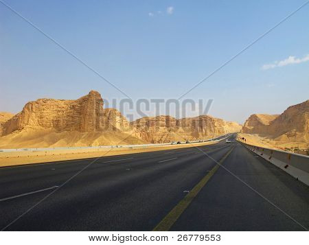 Road trough the desert Riyadh-Makkah(Mecca) highway in Saudi Arabia